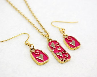 Pink Hearts Jewelry Set in Gold - Hand-painted, Limited Edition, Valentine's Day Gift
