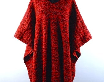 Black and Red Poncho with Fringe, Acrylic Bohemian Chic Poncho