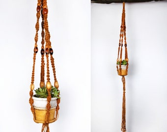 Vintage Jute MACRAME Plant Hanger with Beads || 64 Inches Long