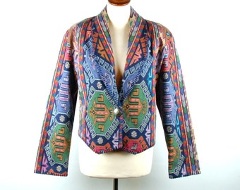 Kilim Style Jacket with Concho by Rhonda Stark, Large, Lined