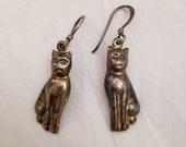 Vintage 1980s Sterling Silver Kitty Cat Dangle Earrings