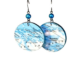 Blue Turquoise Map Earrings,  Repurposed Maps, Lightweight Earrings, Antarctica