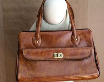 SALE! vintage 1970's vinyl handbag / mod purse / tote / marbleized carmel / top handle / retro chic