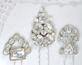 Art Deco Paste Rhinestone Wedding Hair Pin Antique 1920 Hair Pick Bridal Accessory Silver Gatsby Flapper Small HairPiece Fork Stick CHOICE