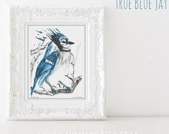 Blue Jay Bird Painting Watercolor Blue Jay Wall Art Unique Gifts for Him Meaningful Gifts Bird Nerd housewarming gift Office decor for men