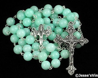 Catholic Rosary Green Chinese Amazonite Fleur De Lis Fiat Center Silver Traditional Natural Stone Rosary Beads