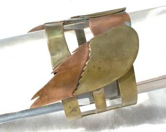 Insect Wings Biker Bracelet Copper Brass Mixed Metals Studio Vintage Unusual 1970's MCM Modernist Artisan