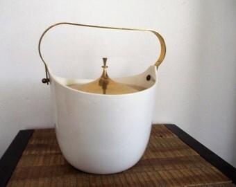 Mid Century Modern Ernest Sohn White Ceramic and Brass Ice Bucket with Bonus!