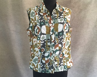 Vintage 60's Sleeveless Shirt, Gray, Brown, Olive Green and White Gingham Print,  Size Medium to Large, Bust 40