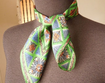 Vintage 50's Scarf, Geometric Pattern, Blue, Green, Brown, Silk, Small Size