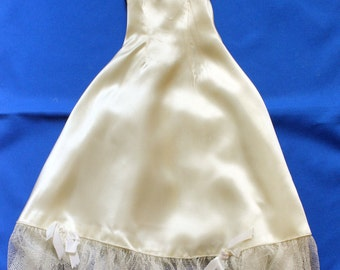 Doll Clothes Ivory White Satin Wedding Dress Party Evening Gown 15 inch Vintage Handmade