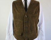 SALE - Brown Corduroy Fall Winter Woodland Vest - Mens Size XL