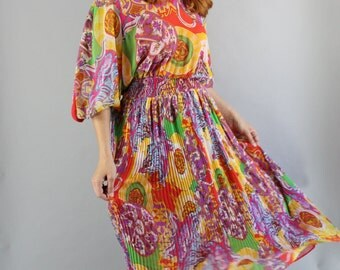 Vintage 80s Women's Diane Freis Designer Bold Rare Print Boho Bohemian Gypsy Chiffon Flowy Summer Festival Dress