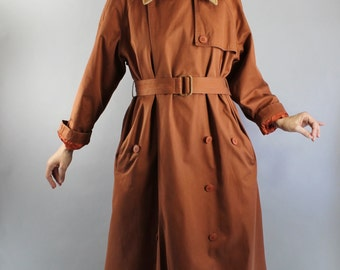 Vintage 80s Womens Rust Brown Wool Lined Long Fall Winter Trenchcoat