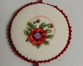 Poppy Flower Pinkeep Pin Keep Pincushion Sewing Accessory