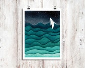 Starry Night Humpback Whale Watercolor Print, Whale art, Whale watercolour, Humpback print, Whale painting, Whale Print, Beach House Decor