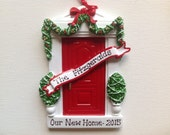 Personalized Christmas Ornament Red Door, New Home, New apartment, New family, Christmas hostess gift- free personalization