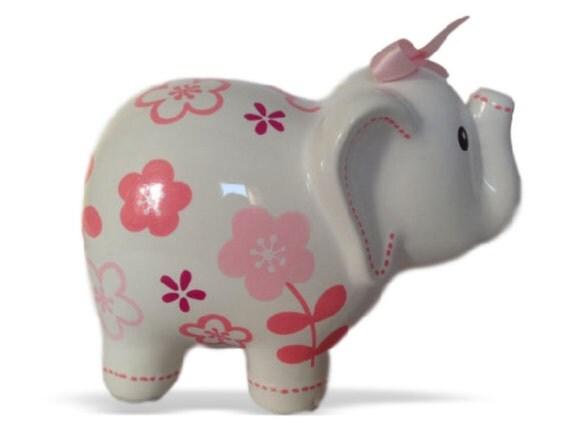 Personalized large elephant piggy bank pink fuschia roses - Ceramic elephant piggy bank ...