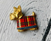 Scottie Dog Jewelry - Scottie Dog Pin - Plaid Scottie Dog - Novelty Pin - Animal Pin - Dog Brooch - Gift for Dog Lover - Dog Person Gift