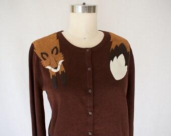 Fox Cardigan in Ox Blood (Burgundy) by Dandyrions