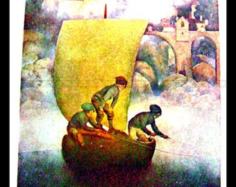 Maxfield Parrish Color Plate from children's book- Poems of Childhood 1904 - WYNKEN, BLYNKEN, and NOD