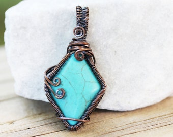 Turquoise Jewelry – Wire Wrap Handmade Jewelry – Woven Wire – Solitaire – Hippie – Earthy – Blue – Fire Dancing – Gypsy – Wire Wrapped