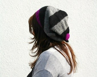 Pointy Slouchy Beanie, Purple Black and Gray Striped Beanie, Hand Knitted Pointed Hat with Button, Fall Autumn Accessories, Winter Fashion