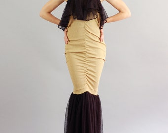 Women's Beatrice Gold and Black Long Maxi Gown-Size M/L