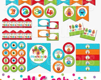 Monster Party Package - Monster Birthday Party - Little Monster Party Decorations - Monster Bash - Monster Banner - INSTANT DOWNLOAD PDF