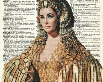 Elizabeth Taylor Cleopatra Vintage Upcycled Dictionary Art Print
