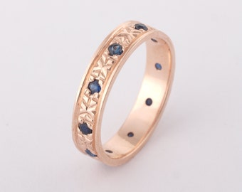 Rose Gold Wedding Band, 14K Gold Ring, Engraved Wedding Band, Art Deco Band, Sapphire Wedding, Sapphire Jewelry, September Birthstone