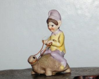 Josef Originals Porcelain Bisque Pixie / Elf Riding a Turtle ~ Excellent Condition ~ 12 of 13