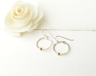 Silver Satalite Earrings with Gold Dot