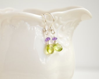 Peridot & Amethyst Teardrop Earrings