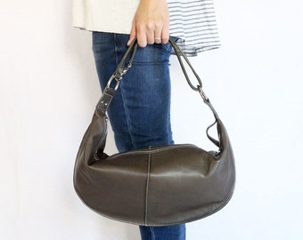 Two-Way Leather Shoulder Bag / Handbag - Dark Brown