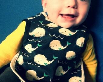 Baby Bib Bapron Apron Drool Bib Full Coverage Reversible Baby Bib