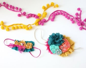 Urban Oasis-  mustard teal and berry rosette burlap and chiffon headband bow