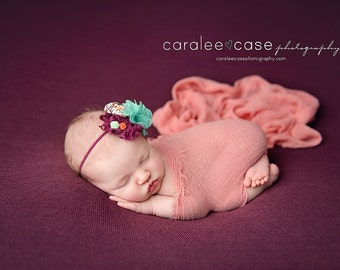 Mint Summer's Night Dream - plum mint and coral rosette burlap flower and chiffon headband bow