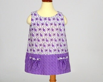 Toddler summer dress a line dress sleeveless dress pockets- Purple Paisley