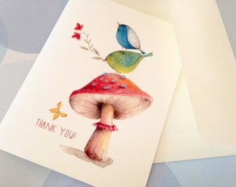 Greeting Card Set, Note Cards, Thank You Card, Personalized Card, Bird Card, Set of 6