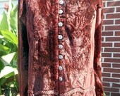 Rust Crushed Velvet Boho Shirt Tunic Free Size Vintage by Quilted Nest
