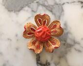 Orange Flower Brooch . Hippie Pin . Signed Art