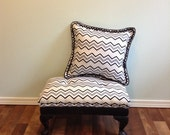 RESERVED Black White Grey Ottoman Pillow Chevron Upholstered Storage Decorator Set Distressed Black Wood, Pompom Trim, Tufted coordinated