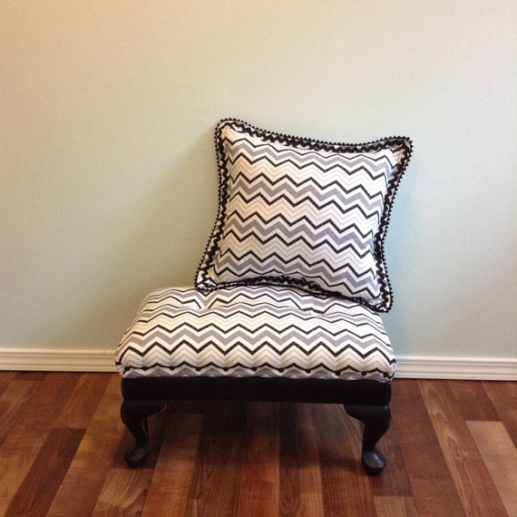 Distressed Wood Storage Ottoman ~ Reserved black white grey ottoman pillow chevron upholstered
