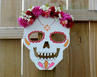 Floral Sugar Skull - Sugar Skull Wall Art - Home Decor - Skull Wall Decor