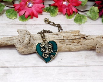 Teal Heart Necklace, Valentines Necklace