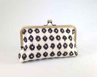 Chocolate Ikat Clutch. Chocolate and Ivory Clutch. Brown Ikat Clutch. Chocolate and Gold Clutch. Fall Bridesmaid Clutch. READY TO SHIP
