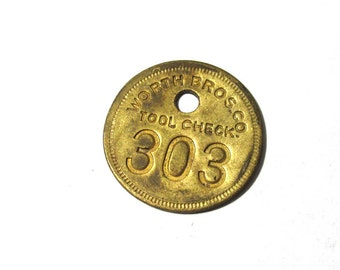 VINTAGE Brass Number Tag Tool TAG Number 303 Worth Bros Co Scrapbook Altered Art Assemblage Mixed Media Art Jewelry Supplies (A127)
