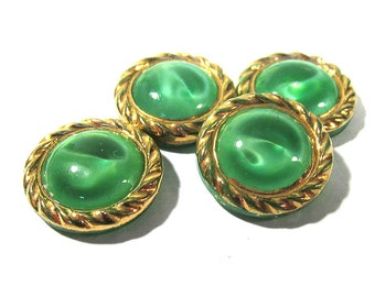 Green Moonglow Glass Shankless Buttons West Germany VINTAGE Green Gold Luster Buttons Four(4) Vintage Buttons Jewelry Sewing Supplies (M35)