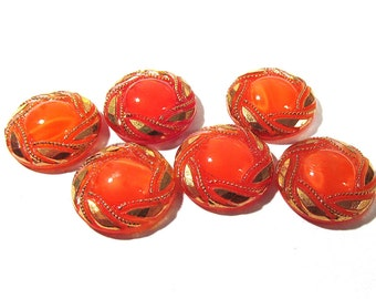 Orange Moonglow Glass Shankless Buttons West Germany VINTAGE Orange Luster Buttons Six (6) Vintage Buttons Jewelry Sewing Supplies (F142)